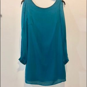 New Alice Moon Teal Mini Dress w/slit sleeves